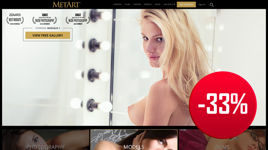 MetArt homepage with discount